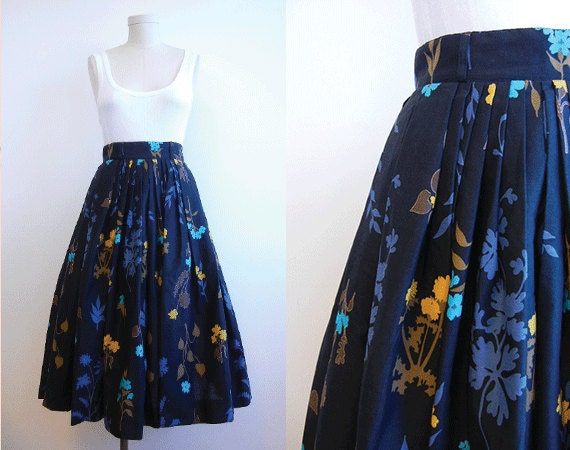Vintage 1950s Skirt / Pleated Cotton Skirt Black Blue Gold Botanical Floral Print New Old Stock