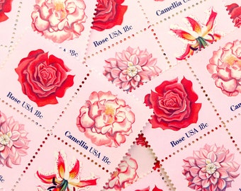 50 pieces - 1981 18 cent PINK FLOWERS Vintage unused stamps - great for wedding invitations and save the dates