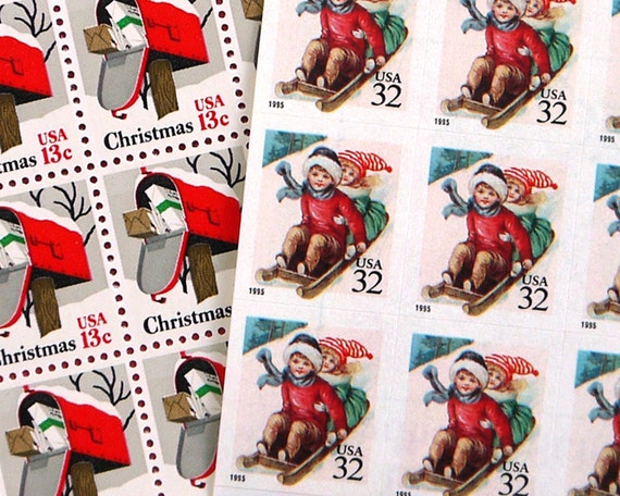 Vintage un-used - Sledding - postage stamps to post 18 Holiday letters or Christmas Cards