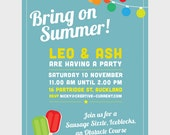 Summer Party Printables - INVITATION ONLY - Pool Party, Obstacle Party, Generic Design, Colour