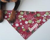 Personalized Festive Swirls and Snowflakes Dog Bandana - Size Small