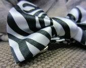 Zebra Bow Belt - Black and White Zebra Print Belt - Satin Sash