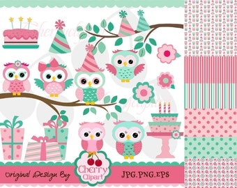 Pink and Teal Birthday Owls digital clipart and digital papers set