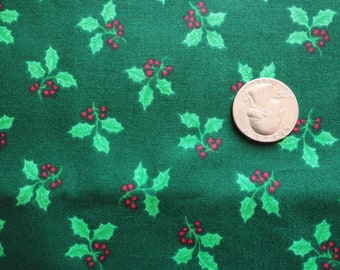 holly leaves and red berries vintage christmas print cotton blend fabric -- 45 wide by 3 yards