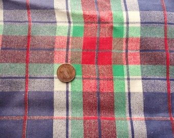 red and blue plaid  full vintage feedsack fabric with issues