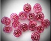 Handmade murrine 104 COE 12 Pink Rose murrine By Bernadette Fuentes SRA