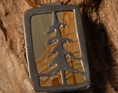 Picture Jasper Sterling Tree Pendent hanging from leather cord