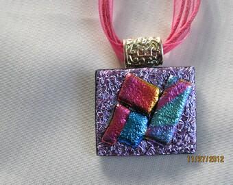 Unique Dichroic Glass Pendant Necklace - Item 1-1603