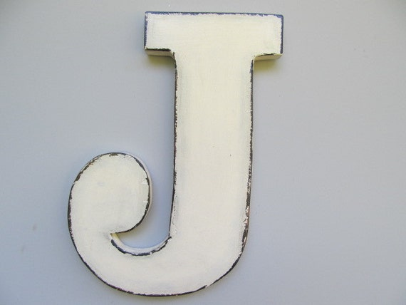 Items similar to wooden letter j rustic large wall wood letters shabby chic 12 initials - Wood letter wall decor ...
