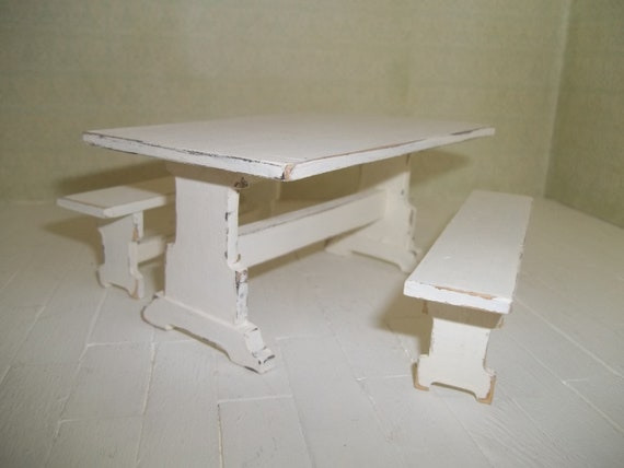 Dollhouse miniature trestle table