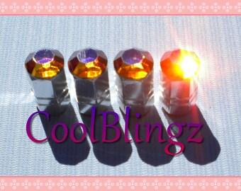 XL VOLCANO Crystal Bling Rhinestone Tire Valve Stem Caps Covers made w/ Swarovski Elements