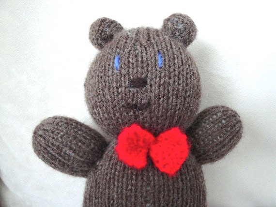 "Hand Knit Teddy Bear with Bowtie Soft Waldorf Toy for Children or Babies 9"" Cuddly Animal"