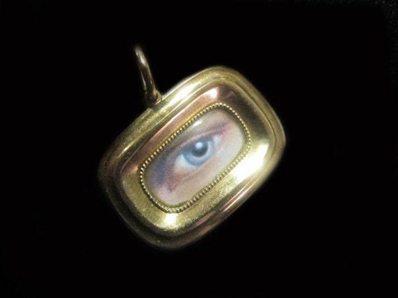 Reserved For Diane-Do Not Buy-Lover's Eye in 9K Rose Gold Tiny Victorian Locket Pendant Brooch
