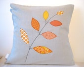 "Cushion cover, orange autumn / fall leaves on a branch, free motion applique, linen, cotton, 16"" / 40cm."