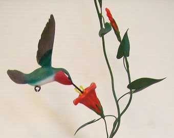 ON HOLD FOR P.H. Hand Carved Hummingbird - Carved Hummingbird with Flowers and Driftwood, mom christmas gift, Birthday gift