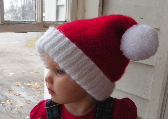 Santa Baby Hat knitted toddler hat size 1 year and up Christmas Winter hat ready to ship
