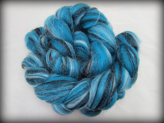 "4 Oz ""Topaz Tempest"" Wool Roving Braid Fiber for Spinning, blending, and more"