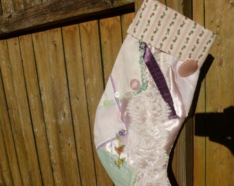 One of a Kind Shabby Chic Christmas Stocking