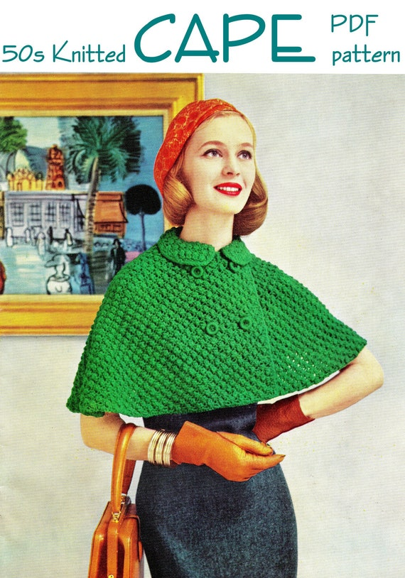 Knitting Pattern Jargon : Vintage 50s Knitted Capelet Cape / Jacket PDF by KissproofGirly