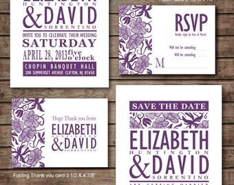 Damask purple flower Wedding Invitation RSVP Thank you card Save the date DIY Printable - Customized