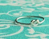 Love knot ring,sterling silver knuckle ring, mid finger ring, tie the knot bridesmaid gift 18g