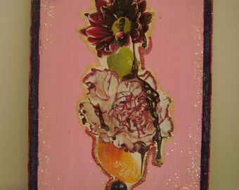 Pink Flowers, Fruit and Chocolate Syrup Plaque - Yum