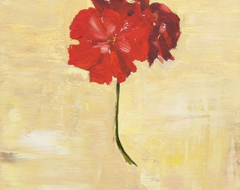 Red Geranium Flower Painting, Original Oil floral Still Life on wood panel, Canadian Fine Art 8x8 inch
