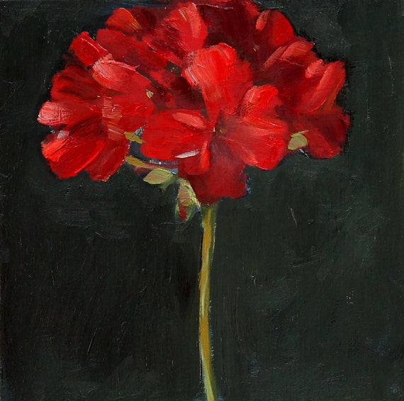 Red Geranium Flower Painting Still Life Oil on wood panel 8x8 inch wall decor Canada