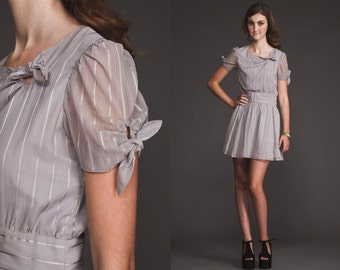 Vintage Unique RARE Mini gray METALLIC sheer Dress//70s 80s//full skirt//tie neck and arms//grey