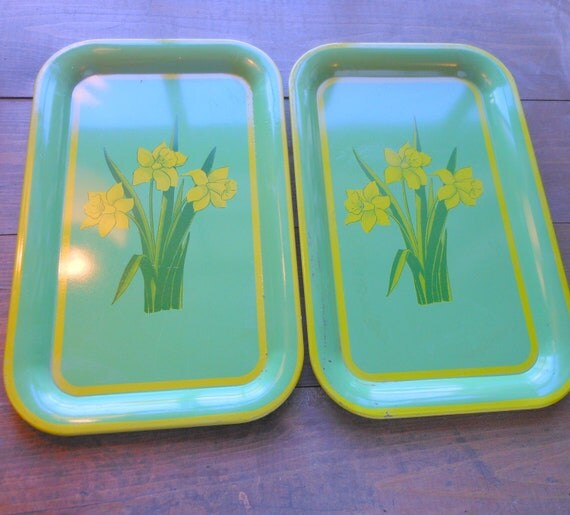 RESERVED FOR MONEYGIRL - Green Vintage Tin Trays - set of two