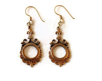 1980's Baroque Bronze Earrings