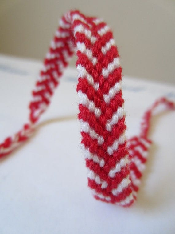 Staggered Chevron Braided Friendship Bracelet in Red and White