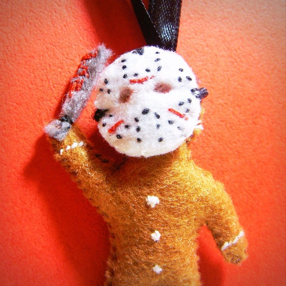 Jason Gingerbread man - custom geek ornament, felt stuffed doll, weird creepy cute, horror movie killer, halloween