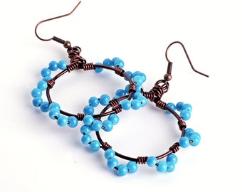 Brown Copper Wire Hoops with Turquoise Glass Beaded Scalloped Edging