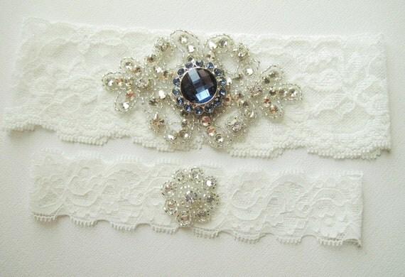 Wedding Garter SAPPHIRE BLUE Garter True Light Bridal Ivory Garter Something Blue Bridal Garter Petite Rhinestone Crystal Flower Toss Garter