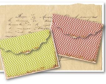 Digital Collage Sheet Download - Shabby Chevron Envelopes -  548  - Digital Paper - Instant Download Printables
