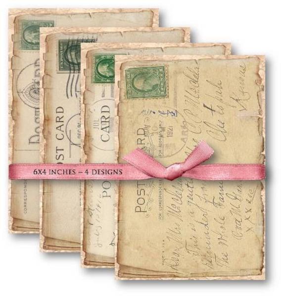 Digital Collage Sheet Download - Vintage Postcards  -  506  - Digital Paper - Instant Download Printables