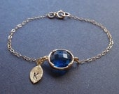 Personalized Initial Leaf, Royal blue bezel Bracelet - with 14k gold filled chain