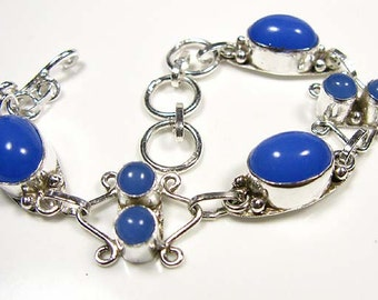 Valentine Gift.... Blue CHALCEDONY Bracelet  925 Silver