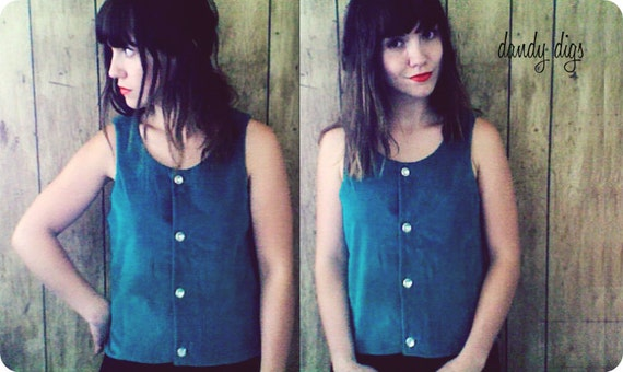 Suede Green Button Up Vest