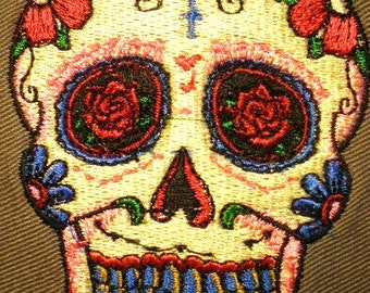 Day of The Dead Sugar Skull Embroidered Applique Patch   Iron On or Sew On