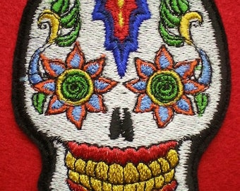 Embroidered Sugar Skull Day of the Dead Applique Patch, Gothic, Biker, Mexican, Iron On Patch