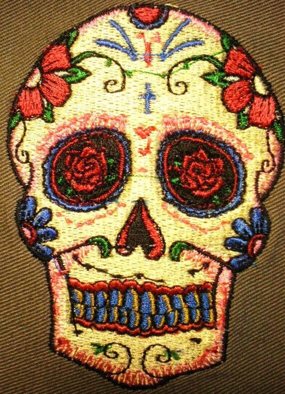 Day Of The Dead Sugar Skull Embroidered Applique Patch