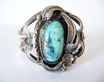 Silver Turquoise Bracelet Vintage 1970s Cuff Bracelet