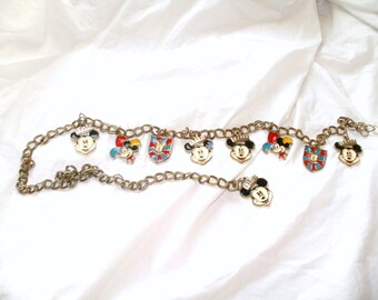 Vintage Mickey Mouse Charm Belt. Disneyland Gold Chain swag