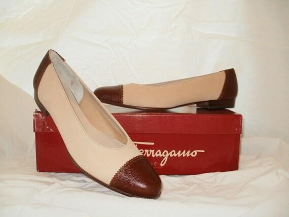 Salvatore Ferragamo Tan Calf and Nubuck shoes - new in box, never worn 1980s