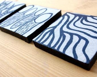 Set of 3 ceramic tiles - wall decor