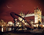 London Photo Digital Download Golden Bridge crescent moon stars night sky Tower Bridge at Night, Fine Art Photography Brown Red Home Decor