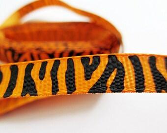 "Orange Zebra Grosgrain Ribbon 5 Yards 3/8"""