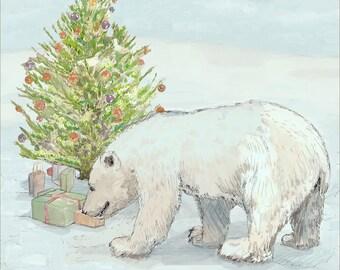 Christmas polar bear cub-checking the gifts under Christmas tree, presents gift stocking stuffer, New England Christmastime art print 8.5x11